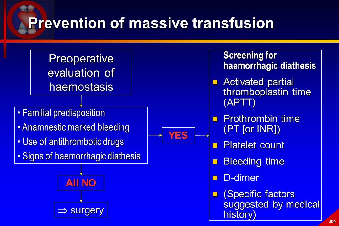 Prevention of massive transfusion
