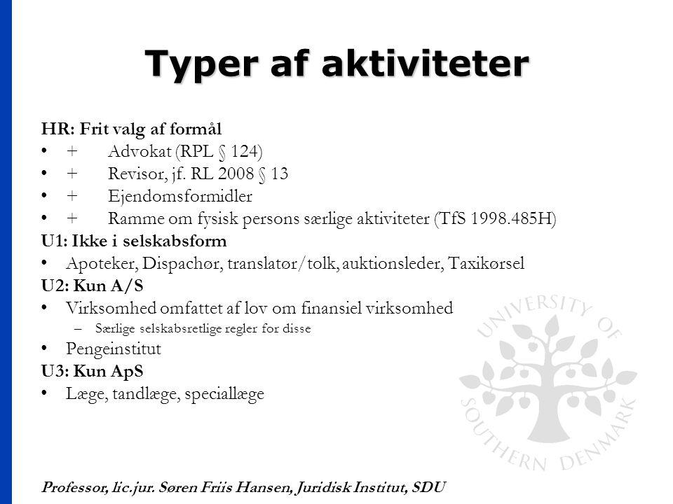 Typer af aktiviteter HR: Frit valg af formål + Advokat (RPL § 124)