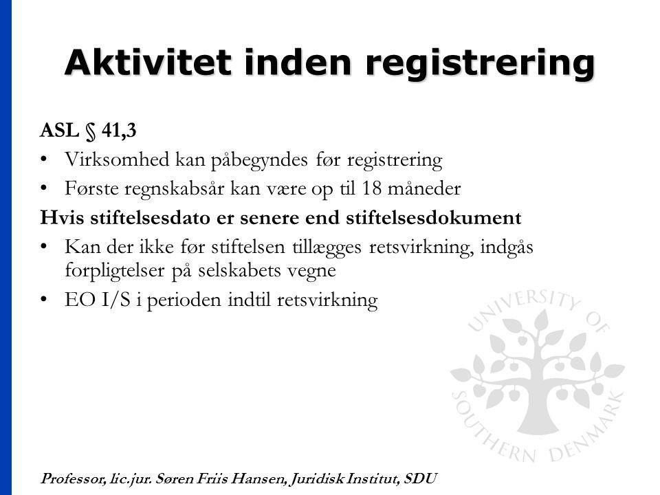 Aktivitet inden registrering