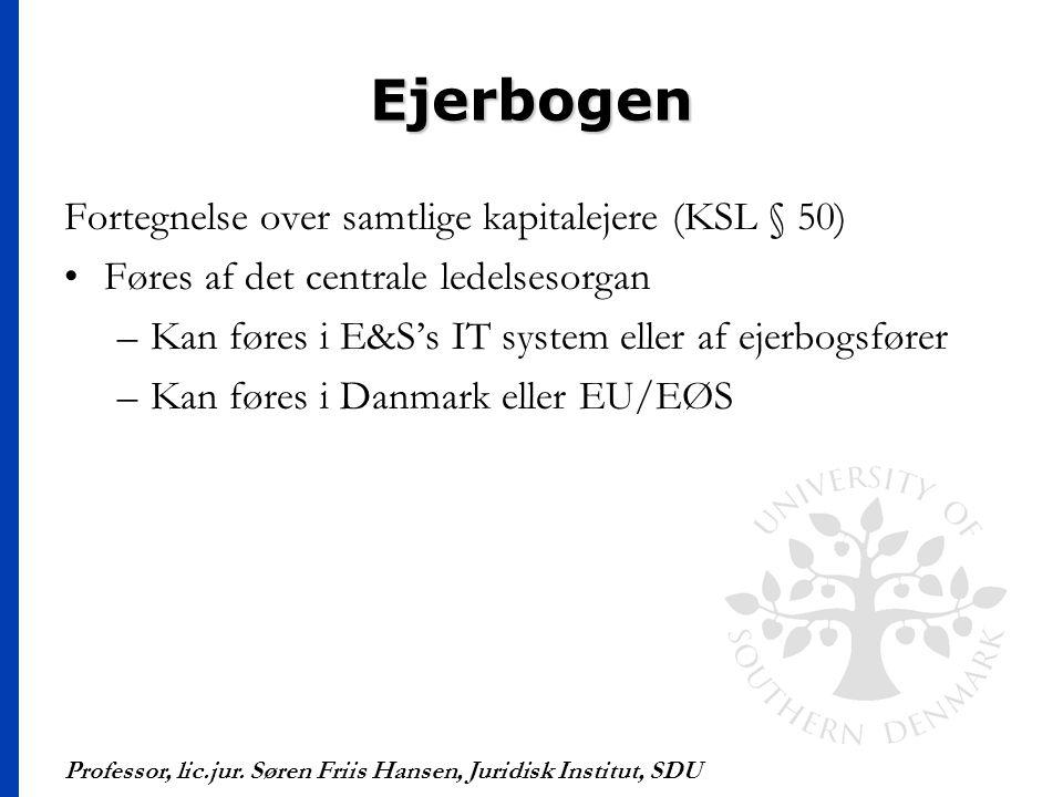 Ejerbogen Fortegnelse over samtlige kapitalejere (KSL § 50)
