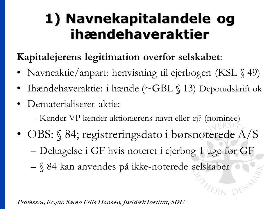 1) Navnekapitalandele og ihændehaveraktier