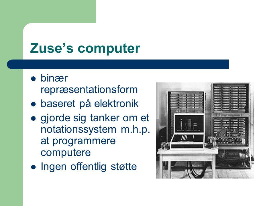 Zuse's computer binær repræsentationsform baseret på elektronik