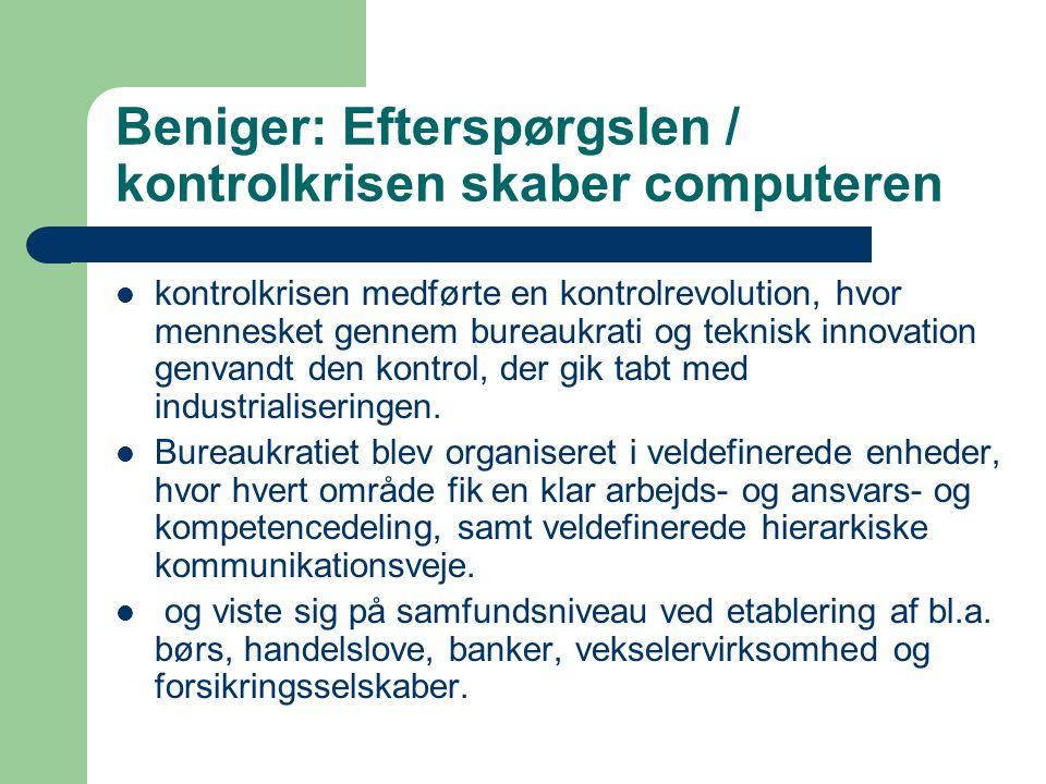 Beniger: Efterspørgslen / kontrolkrisen skaber computeren