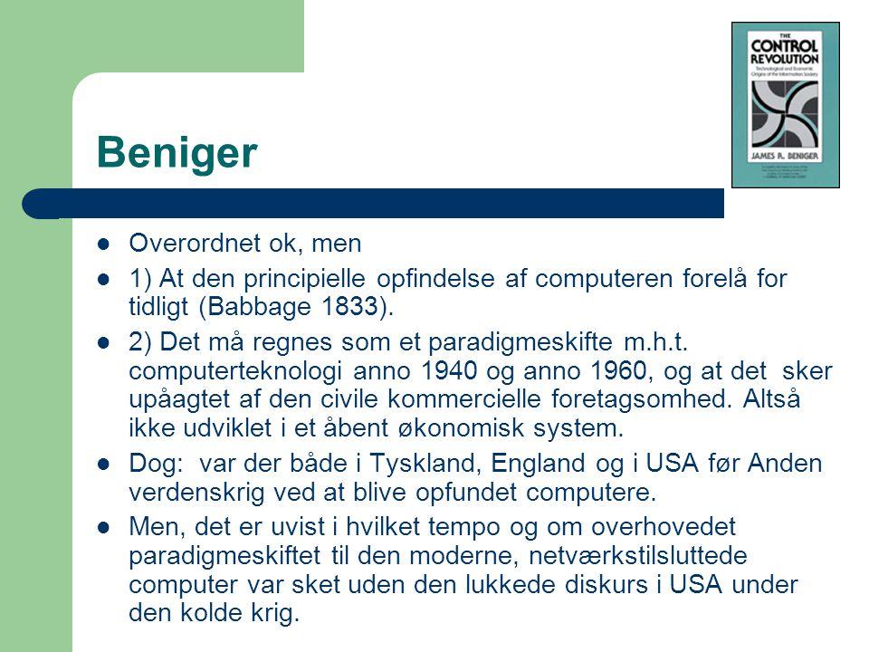 Beniger Overordnet ok, men