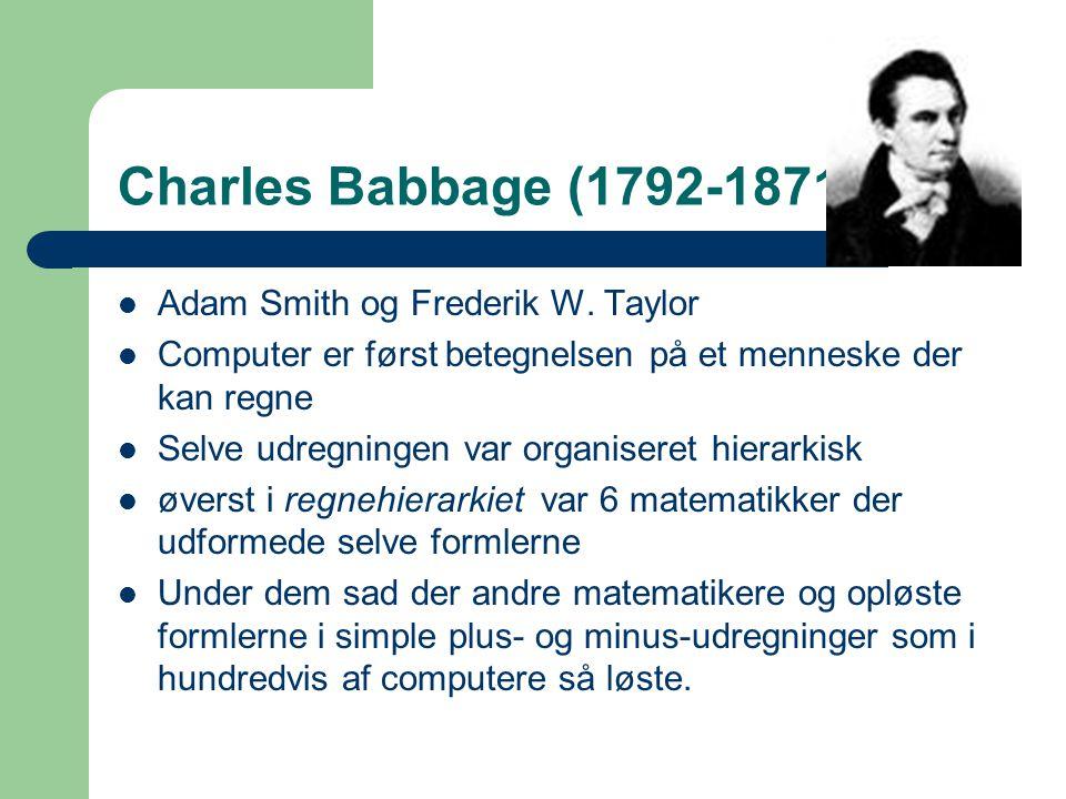 Charles Babbage (1792-1871) Adam Smith og Frederik W. Taylor