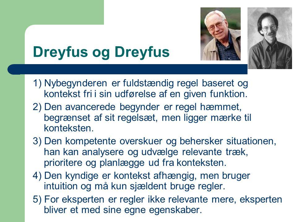 Dreyfus og Dreyfus 1) Nybegynderen er fuldstændig regel baseret og kontekst fri i sin udførelse af en given funktion.