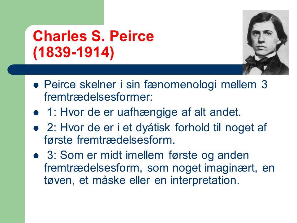 Charles S. Peirce (1839-1914) Peirce skelner i sin fænomenologi mellem 3 fremtrædelsesformer: 1: Hvor de er uafhængige af alt andet.