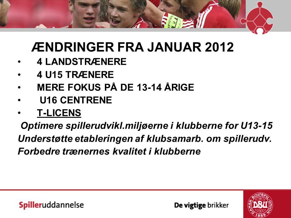 ÆNDRINGER FRA JANUAR 2012 4 LANDSTRÆNERE 4 U15 TRÆNERE