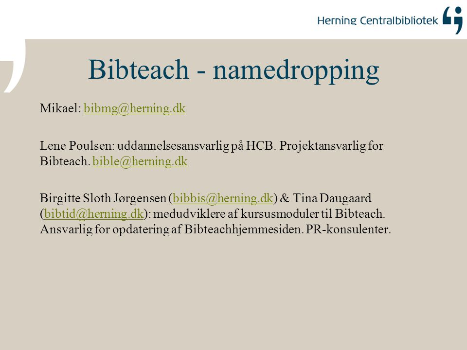 Bibteach - namedropping
