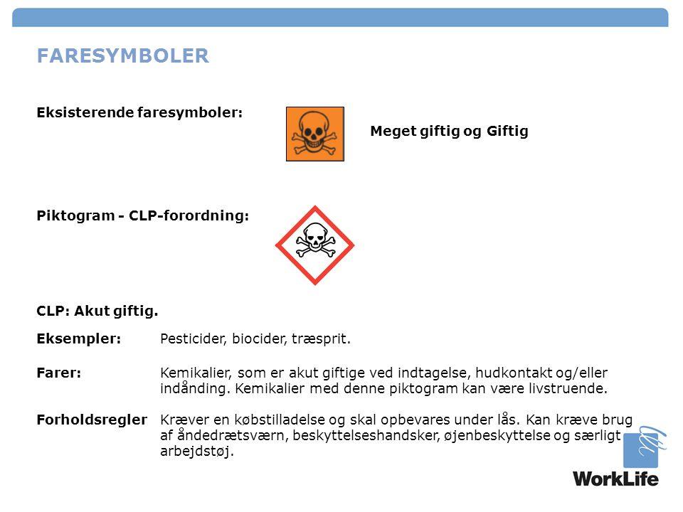 FARESYMBOLER Eksisterende faresymboler: Meget giftig og Giftig