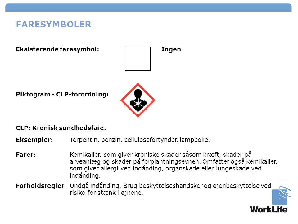 FARESYMBOLER Eksisterende faresymbol: Ingen