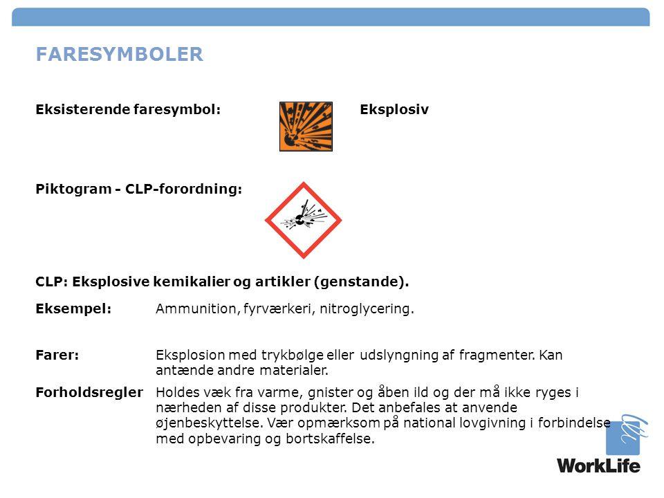 FARESYMBOLER Eksisterende faresymbol: Eksplosiv