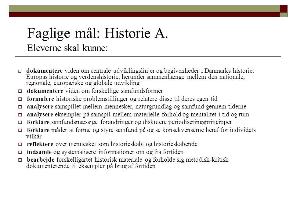 Faglige mål: Historie A.