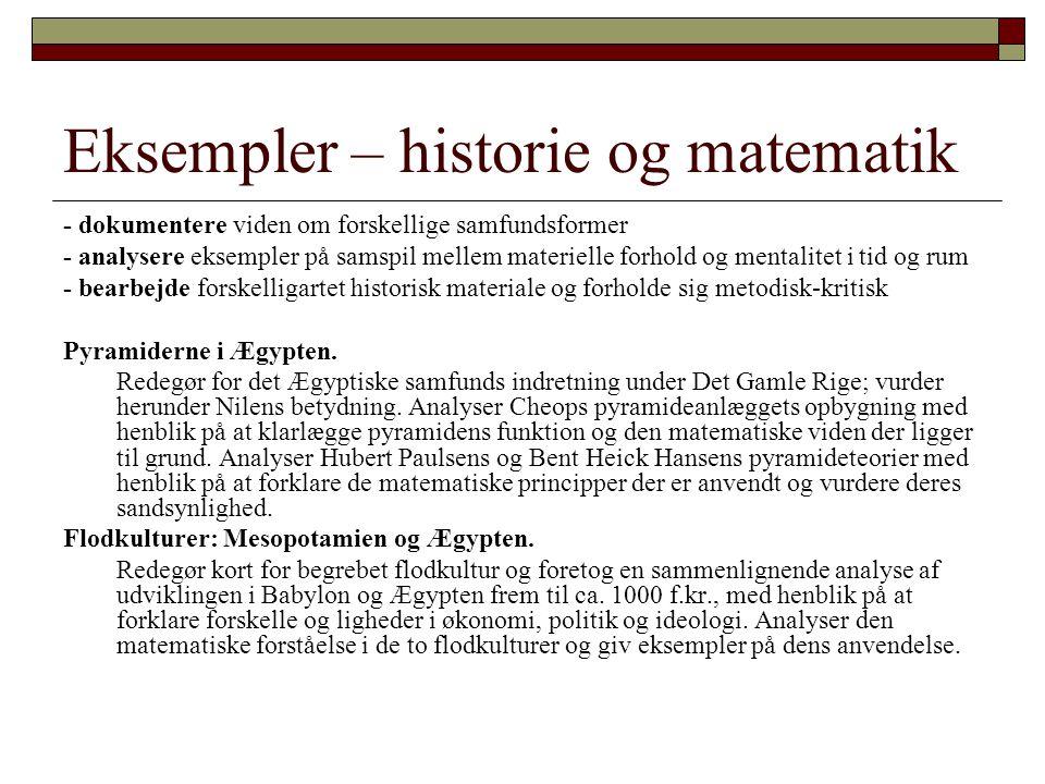 Eksempler – historie og matematik