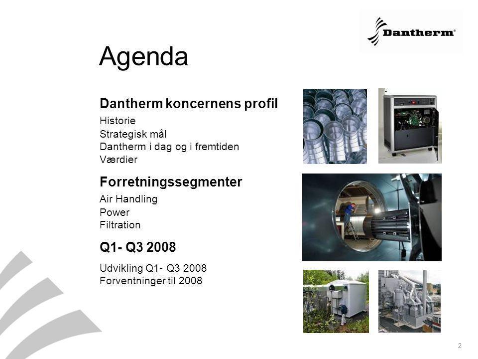 Agenda Dantherm koncernens profil Historie Strategisk mål Dantherm i dag og i fremtiden Værdier.