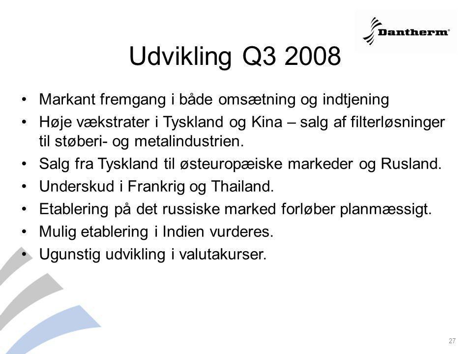 Udvikling Q3 2008 Markant fremgang i både omsætning og indtjening