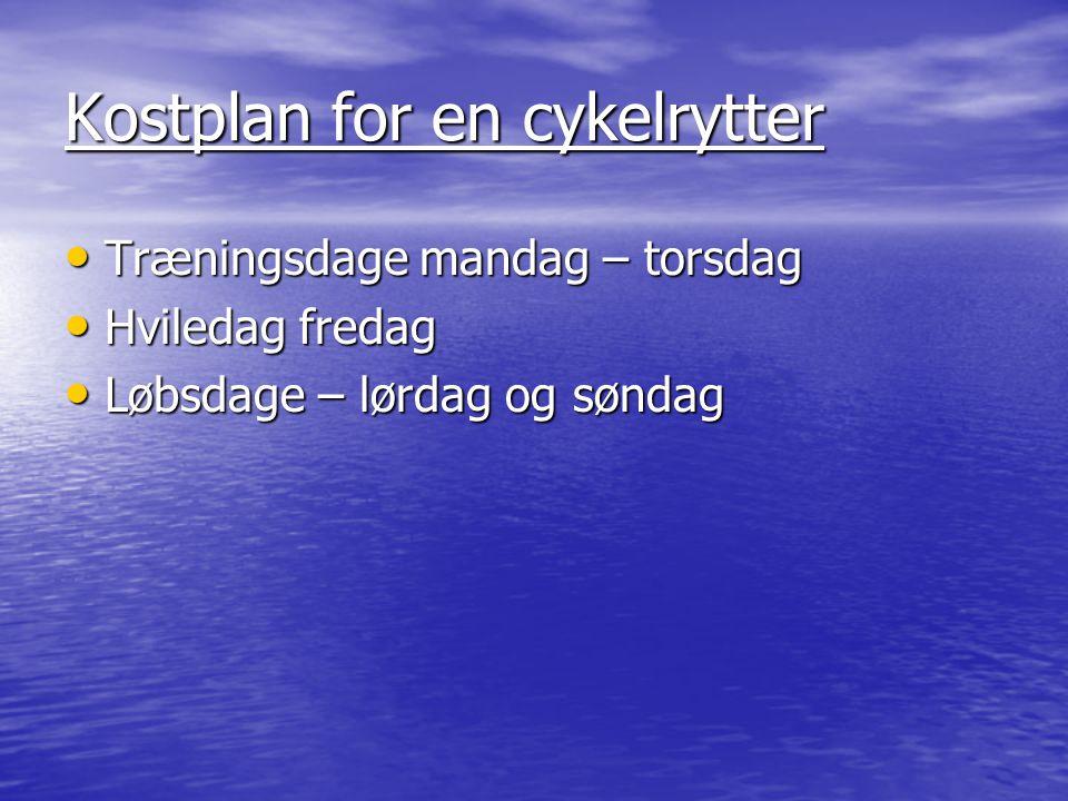 Kostplan for en cykelrytter