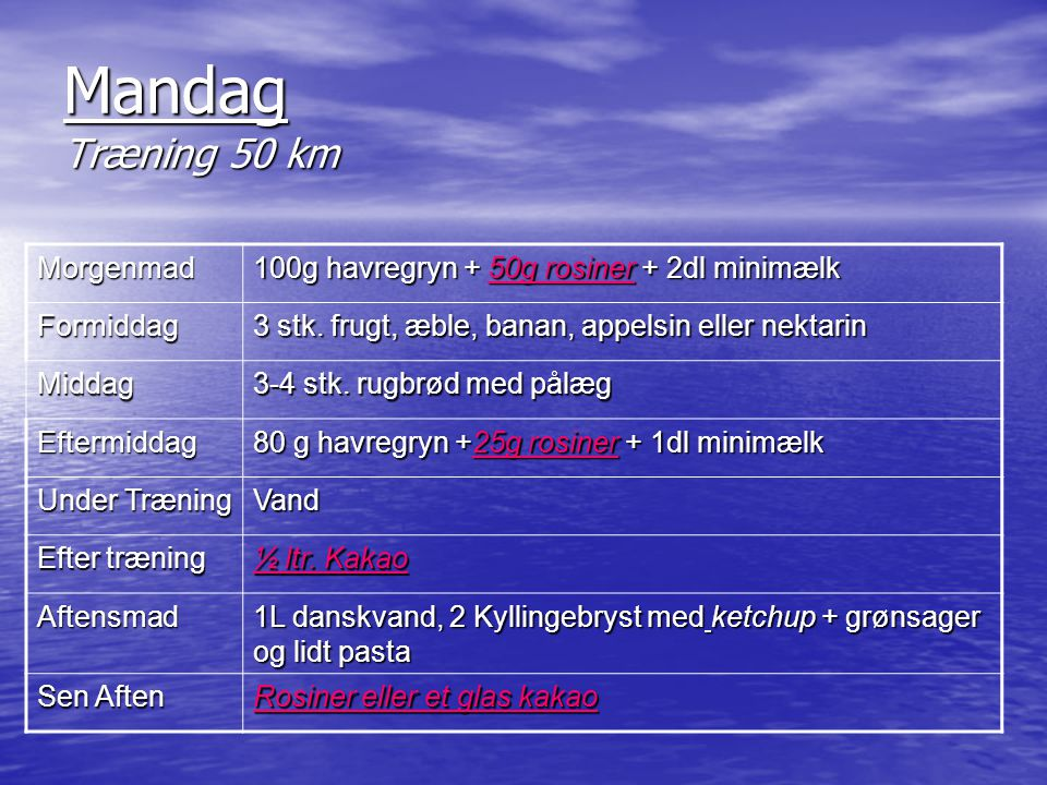 Mandag Træning 50 km Morgenmad