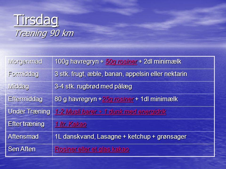 Tirsdag Træning 90 km Morgenmad