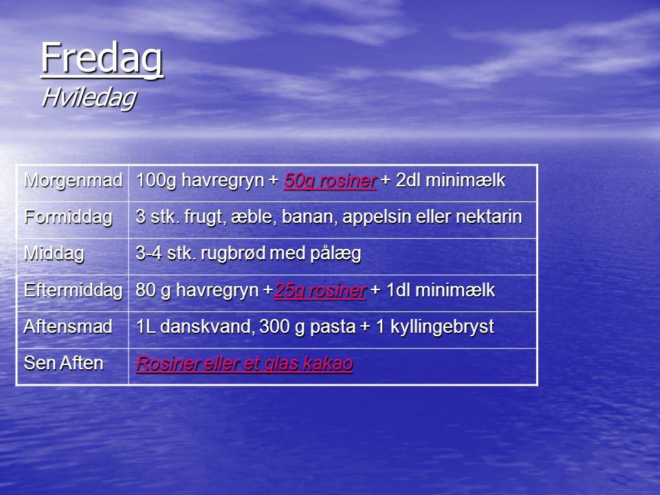 Fredag Hviledag Morgenmad 100g havregryn + 50g rosiner + 2dl minimælk