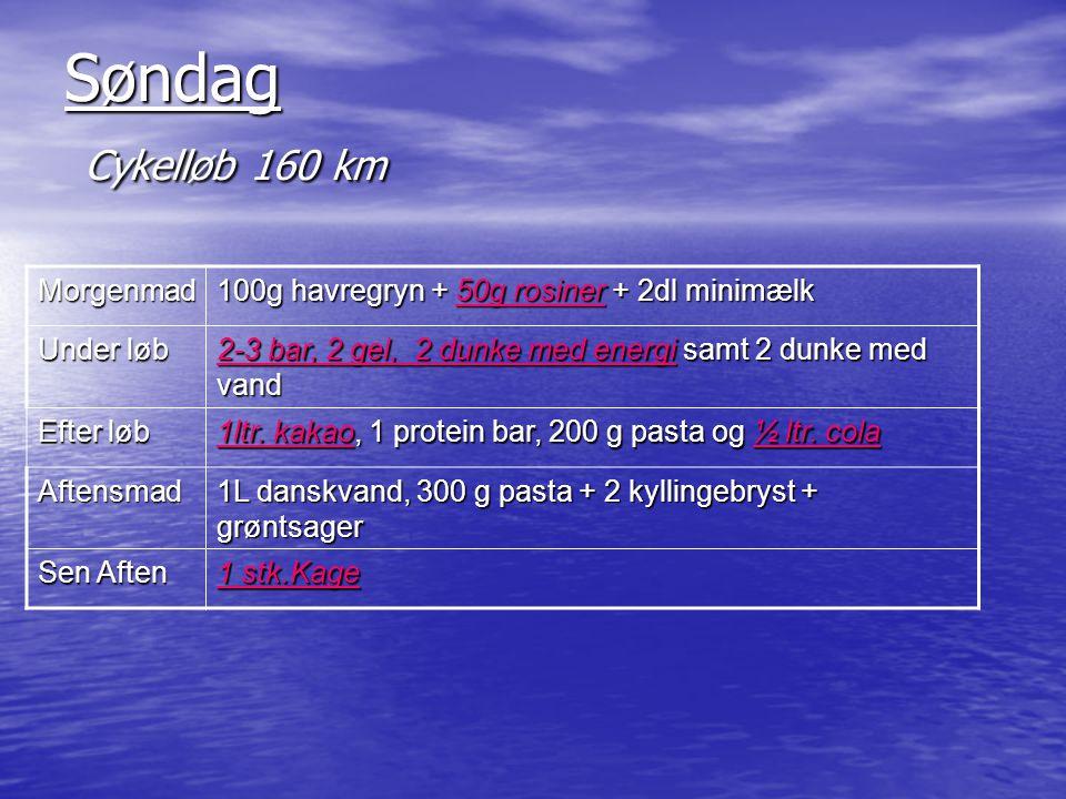 Søndag Cykelløb 160 km Morgenmad