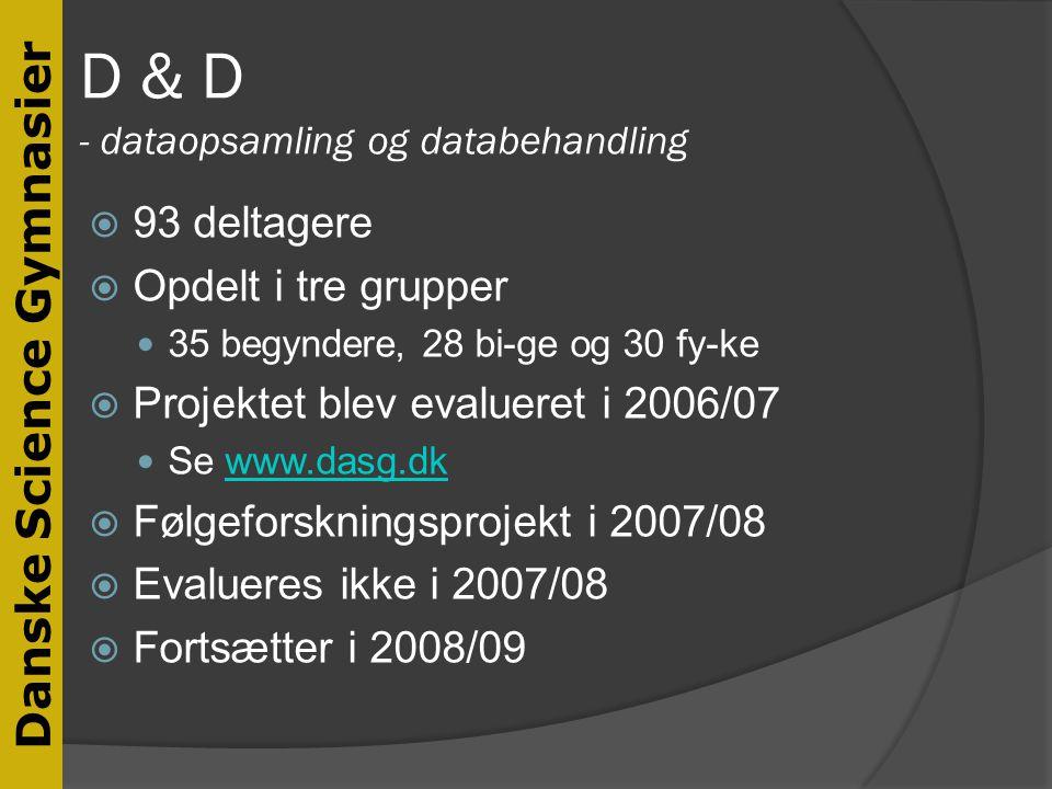 D & D - dataopsamling og databehandling