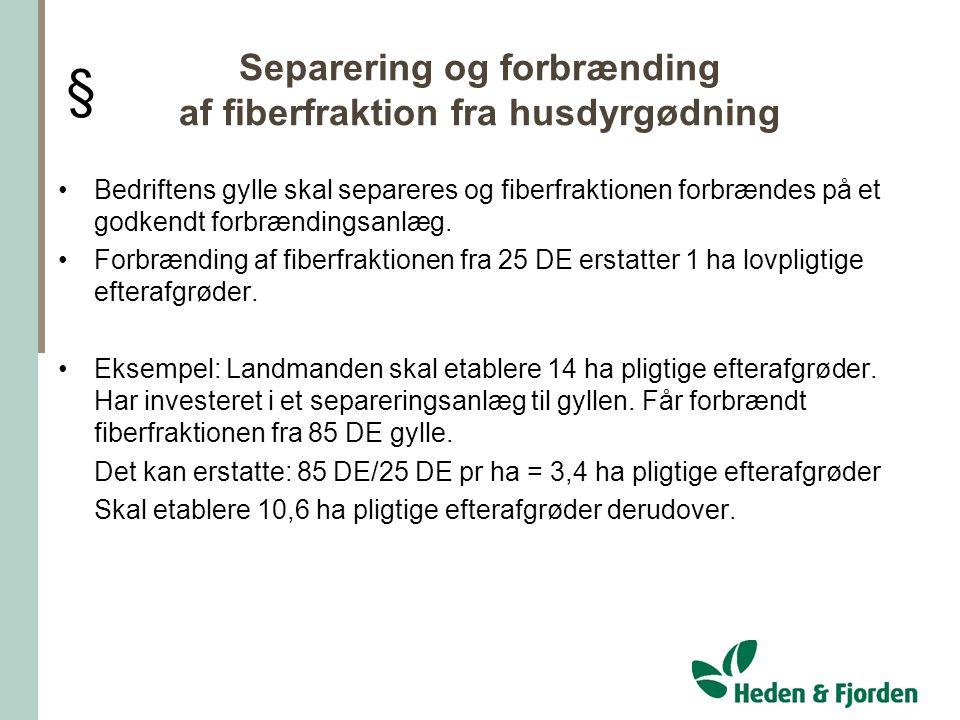Separering og forbrænding af fiberfraktion fra husdyrgødning
