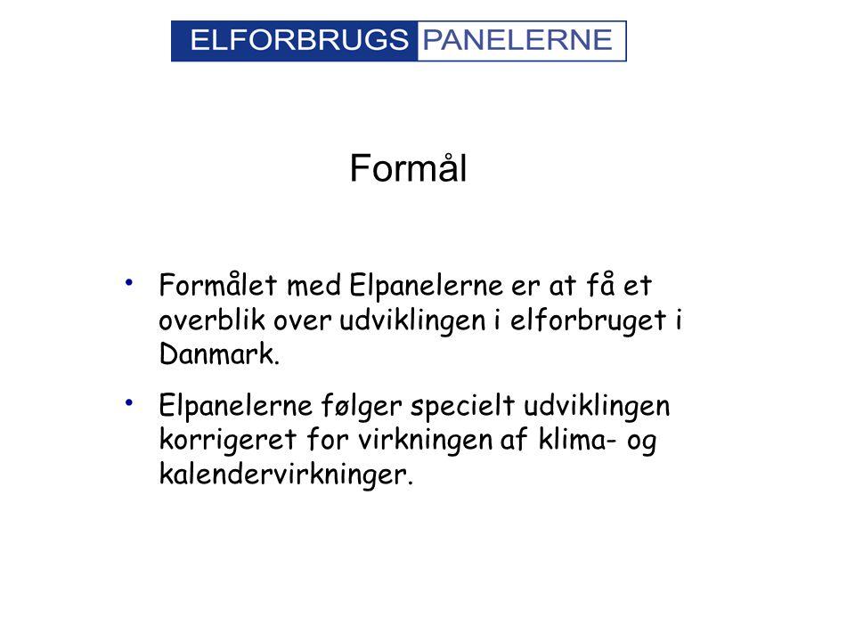 Formål Formålet med Elpanelerne er at få et overblik over udviklingen i elforbruget i Danmark.