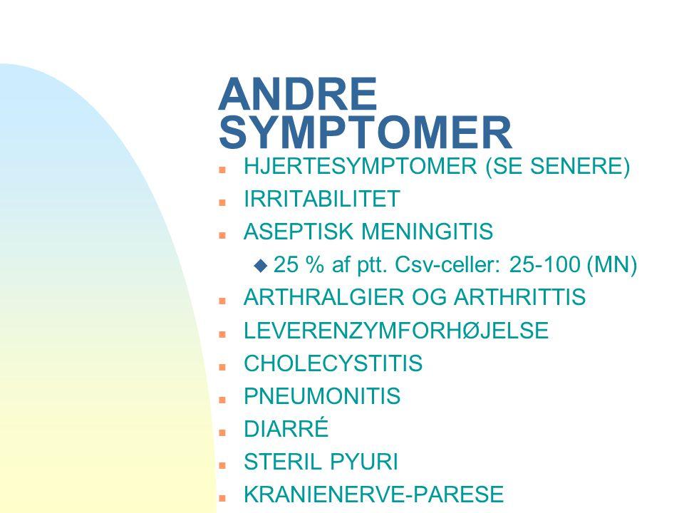 ANDRE SYMPTOMER HJERTESYMPTOMER (SE SENERE) IRRITABILITET