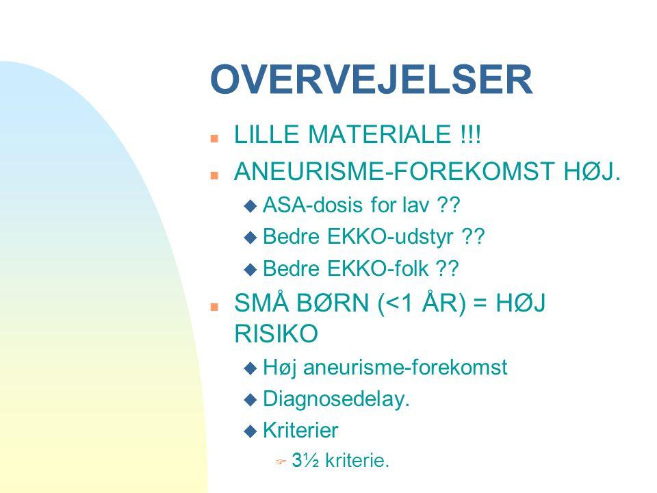 OVERVEJELSER LILLE MATERIALE !!! ANEURISME-FOREKOMST HØJ.