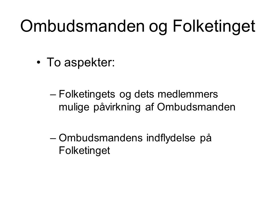 Ombudsmanden og Folketinget