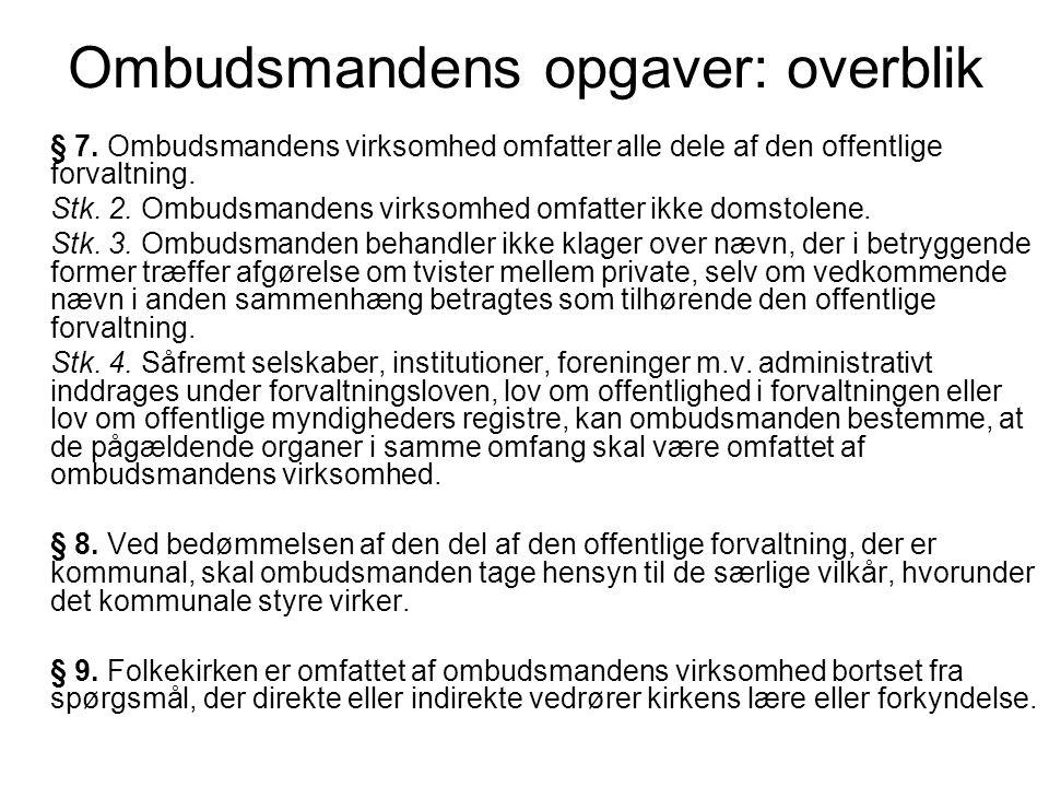 Ombudsmandens opgaver: overblik