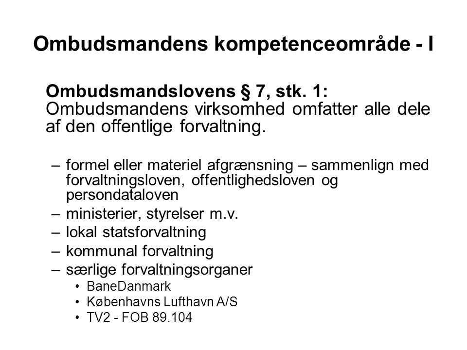 Ombudsmandens kompetenceområde - I