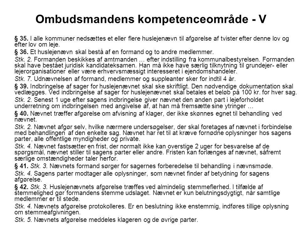Ombudsmandens kompetenceområde - V