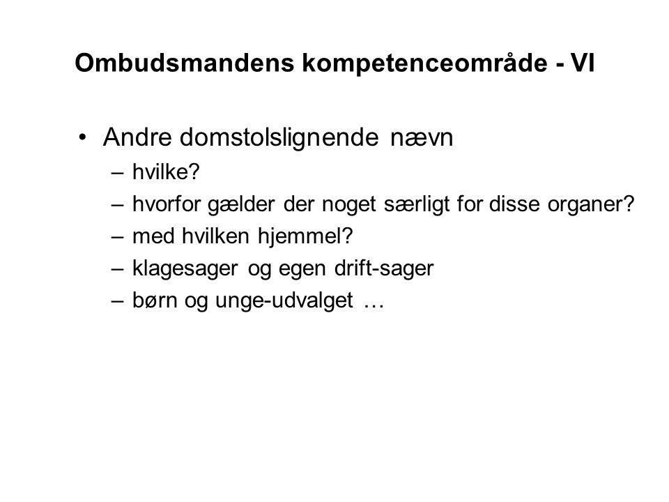 Ombudsmandens kompetenceområde - VI