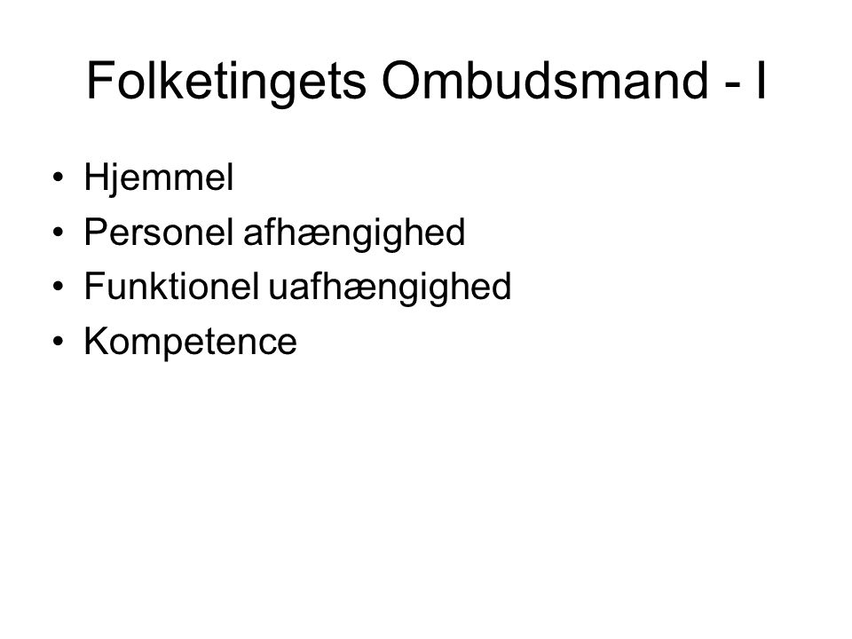 Folketingets Ombudsmand - I