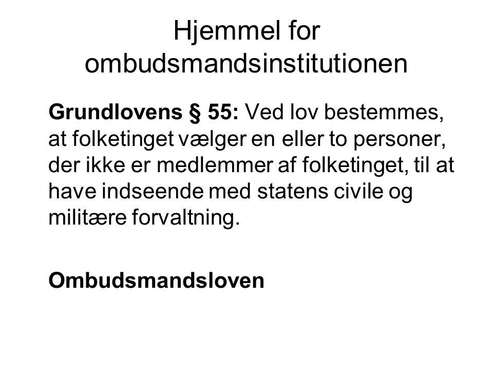 Hjemmel for ombudsmandsinstitutionen