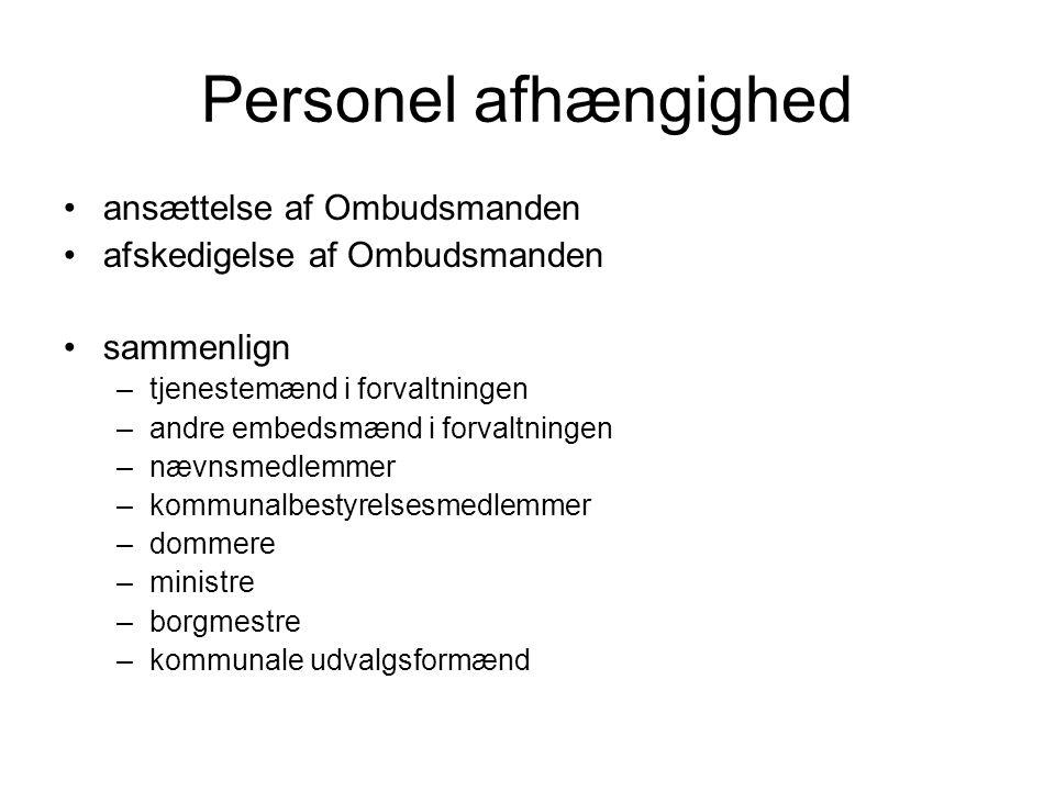Personel afhængighed ansættelse af Ombudsmanden