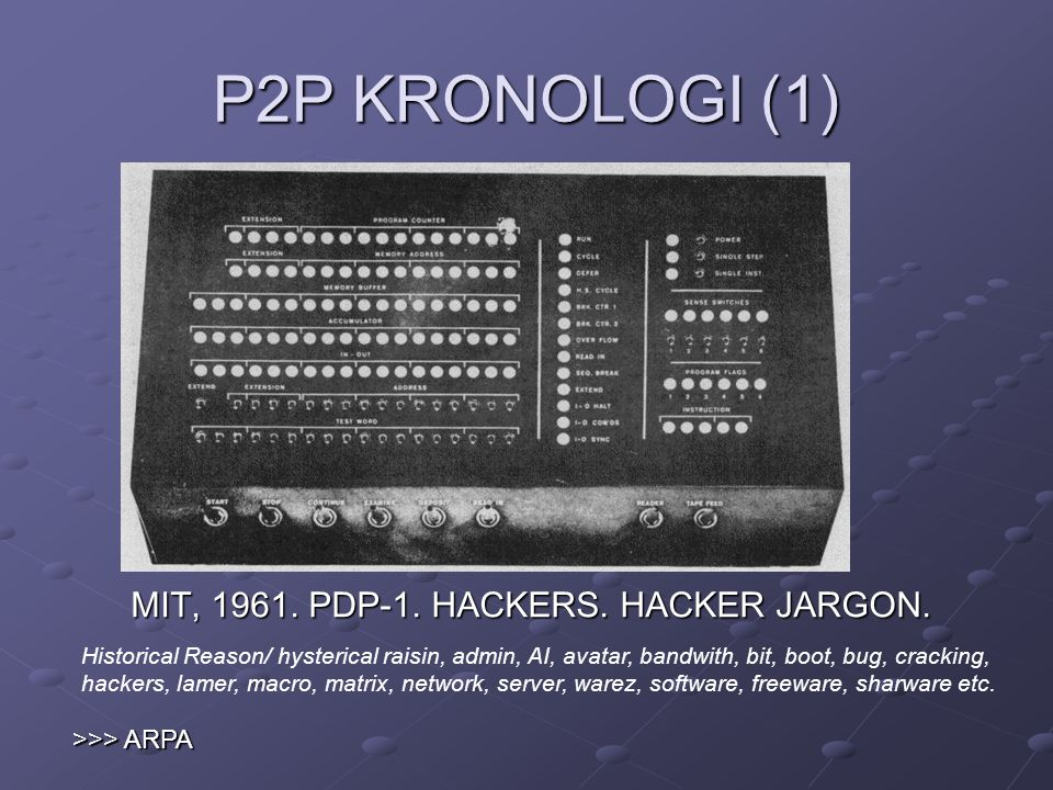 P2P KRONOLOGI (1) MIT, 1961. PDP-1. HACKERS. HACKER JARGON.