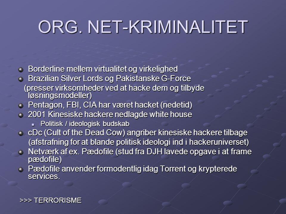 ORG. NET-KRIMINALITET Borderline mellem virtualitet og virkelighed