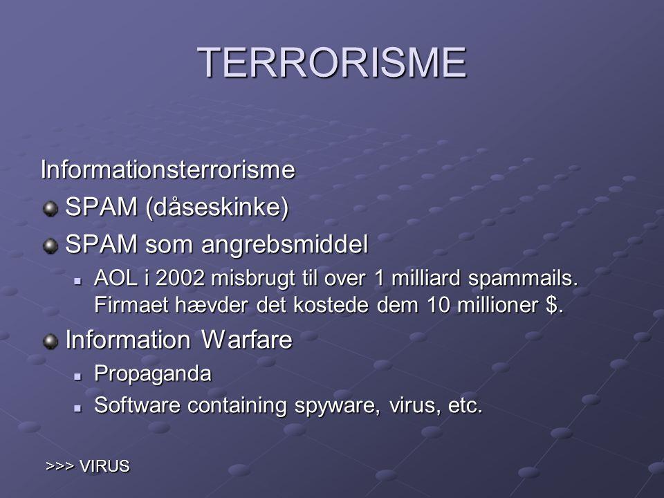 TERRORISME Informationsterrorisme SPAM (dåseskinke)