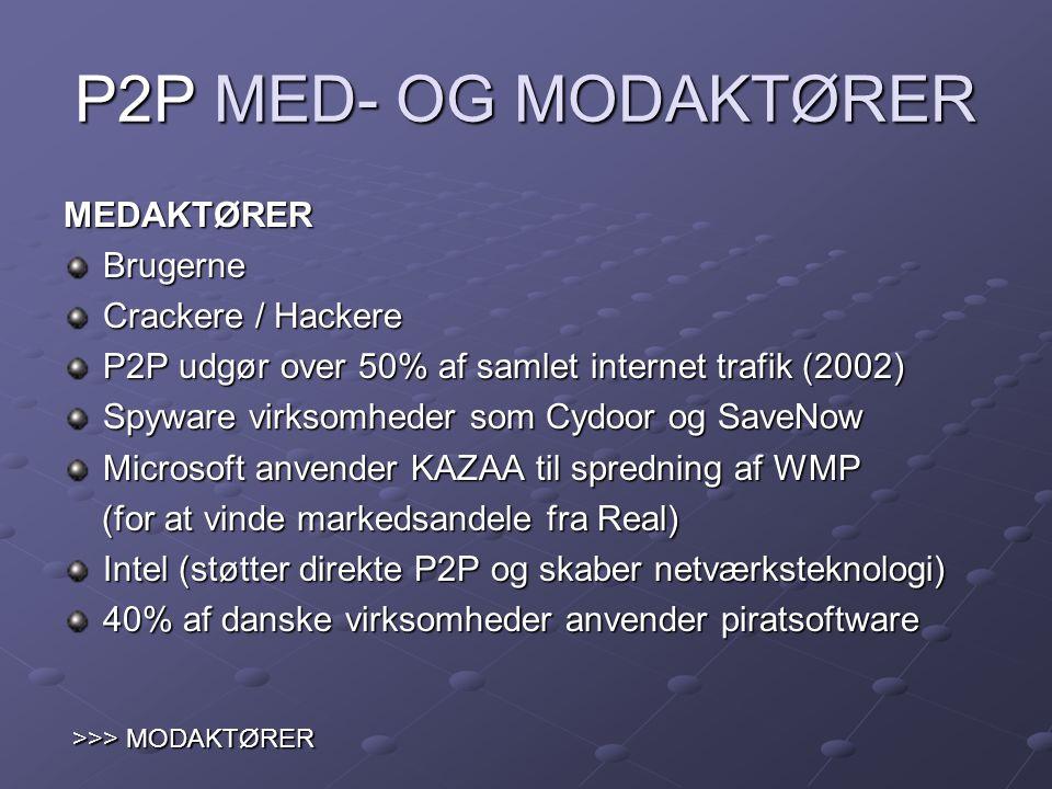 P2P MED- OG MODAKTØRER MEDAKTØRER Brugerne Crackere / Hackere