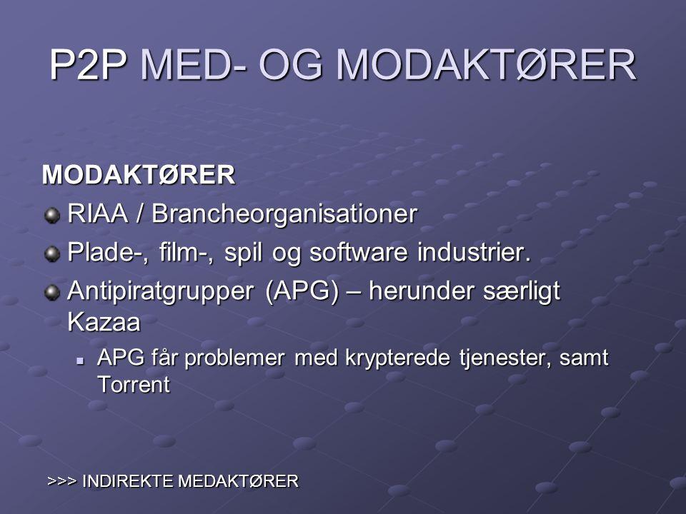 P2P MED- OG MODAKTØRER MODAKTØRER RIAA / Brancheorganisationer