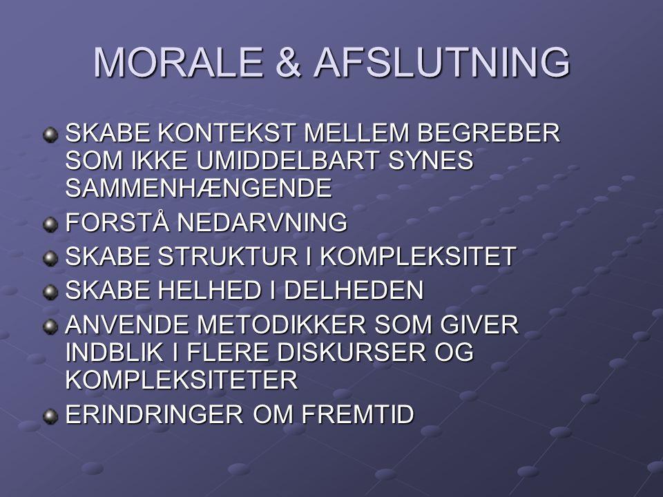 MORALE & AFSLUTNING SKABE KONTEKST MELLEM BEGREBER SOM IKKE UMIDDELBART SYNES SAMMENHÆNGENDE. FORSTÅ NEDARVNING.