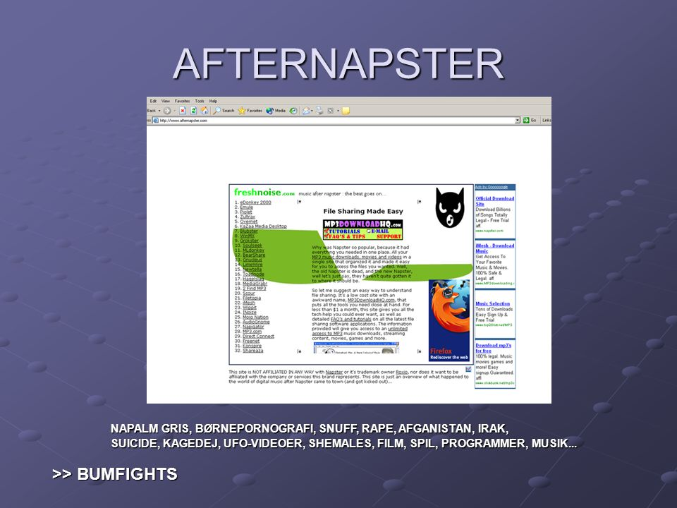 AFTERNAPSTER >> BUMFIGHTS