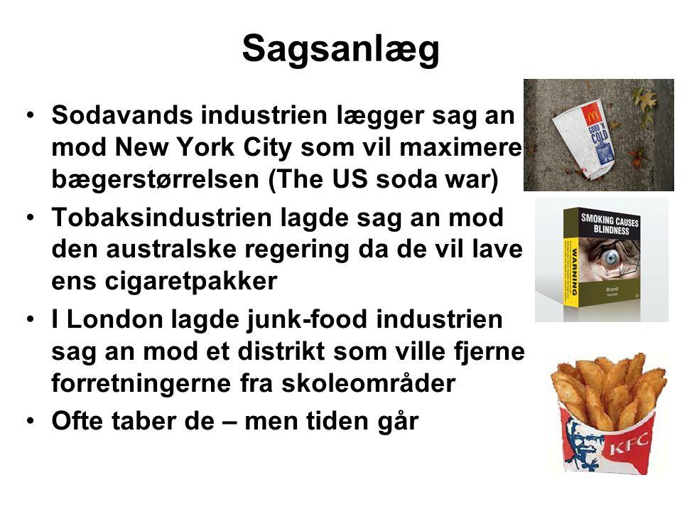 Sagsanlæg Sodavands industrien lægger sag an mod New York City som vil maximere bægerstørrelsen (The US soda war)