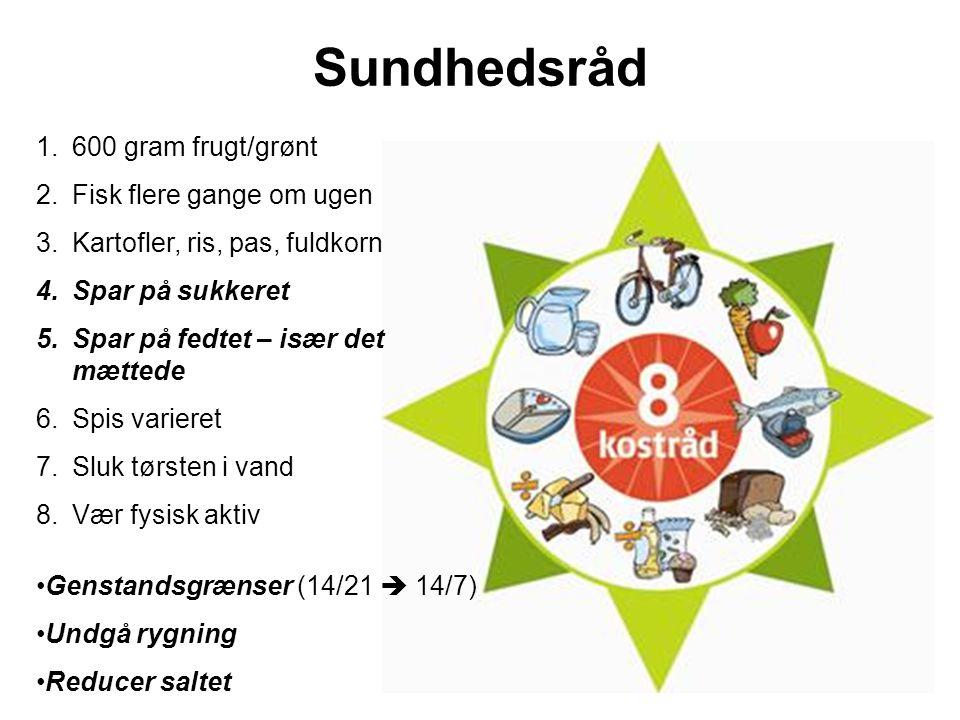 Sundhedsråd 600 gram frugt/grønt Fisk flere gange om ugen