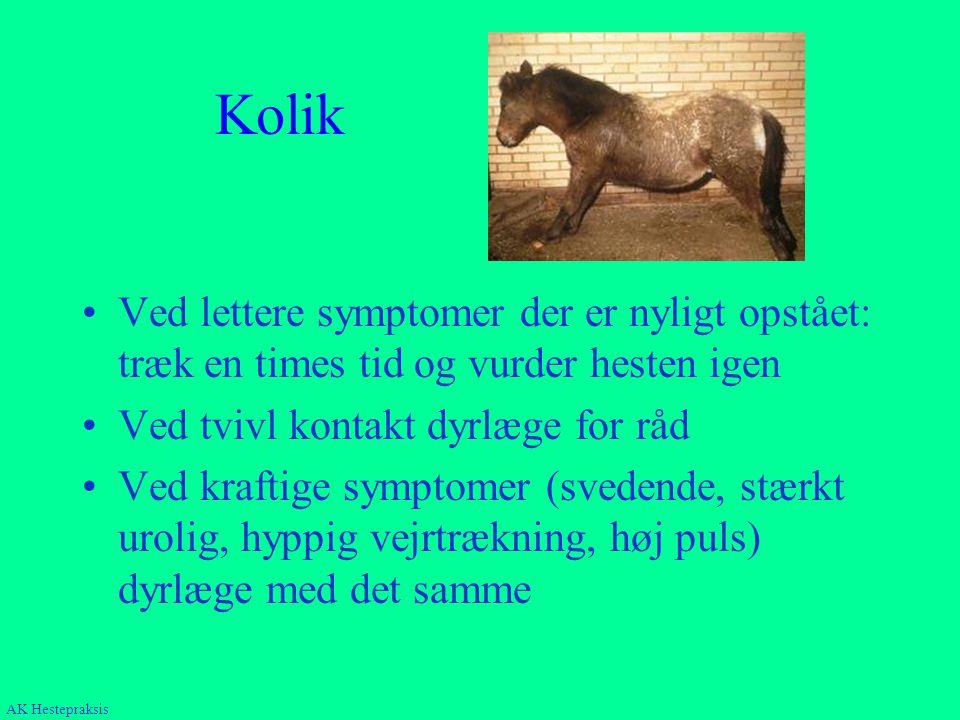 Kolik Ved lettere symptomer der er nyligt opstået: træk en times tid og vurder hesten igen. Ved tvivl kontakt dyrlæge for råd.