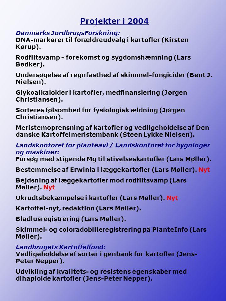 Projekter i 2004 Danmarks JordbrugsForskning: DNA-markører til forældreudvalg i kartofler (Kirsten Kørup).