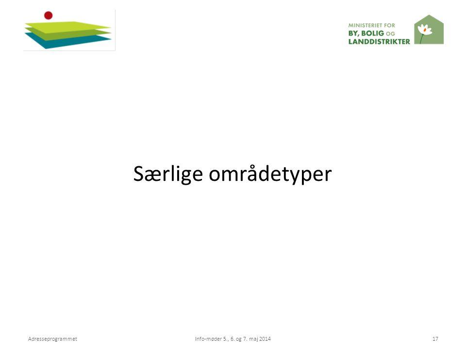 Særlige områdetyper Adresseprogrammet Info-møder 5., 6. og 7. maj 2014